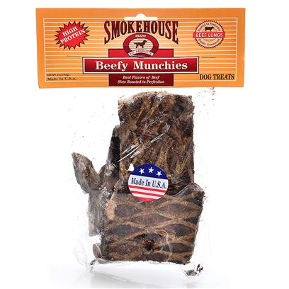 Smokehouse Presents Smokehouse Beef Munchies Small (Sm) 4oz. Poly Bag with Header Card 100% Natural 100% Meat - no Additives - Natural Hand Cuts that Preserve the Flavors of the Finest Quality Beef. Munchies are Made from Beef Lung. They are Very Low in Fat, and High in Protein. Their Color and Flavor are Naturally Enhanced when they are Slow Roasted for Up to 53 Hours. Made in the Usa [22661]