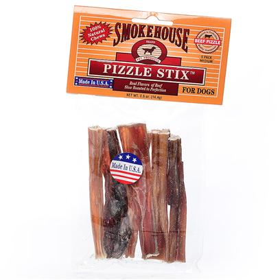 Smokehouse Presents Smokehouse Beefy Sticks 4' Packaged 6pk Small (Sm) 6p. Bagged and Headered 100% Natural Steer Pizzle Great Treat for your Dog Slow Roasted to Perfection Made in the Usa [22662]