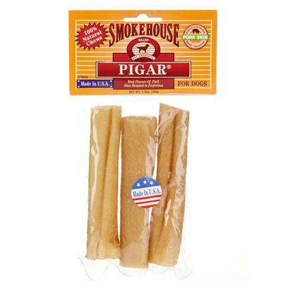 Smokehouse Presents Smokehouse Piggy Skins Pigar 3pk Small (Sm). 4&quot; in Clear Vinyl Bag with Header 100% Natural, Dogestible Pork Skins Slow Roasted to Perfection. Rolled Like a &quot;Cigar&quot; [22676]