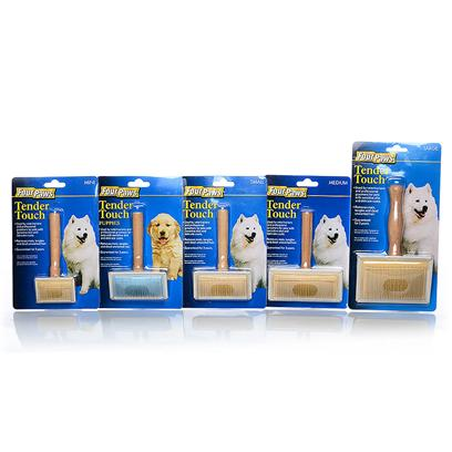 Four Paws Presents Tender Touch Slicker Brush Fp Puppy. Four Paws Tender Brushes are Manufactured with Strong Wooden Handles, Stainless Steel Pins and Reinforced Rubber Pads Allowing all Animals to be Brushed with a Tender Touch. Small [22706]