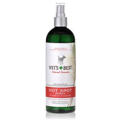 Bramton Company Presents Vets Best Hot Spot Spray 8oz. Soothe your DogS Painful, Itchy Skin with this Healing Natural Spray. Made without Alcohol for a no-Sting Application, VetS Best Hot Spot Spray Relieves and Heals Itchy, Raw, Irritated Skin with Tea Tree Oil, Aloe Vera, and Chamomile. This Spray can be Used in Conjunction with Topical Flea Treatments, and WonT Interfere with the Effectiveness of Those Treatments. Help your Dog to Look and Feel Better, Naturally. [22766]