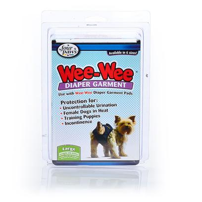 Four Paws Presents Wee Diaper Garment Fp Xxsmall. The Stylish Wee-Wee Diaper Garments are for Use with Disposable Wee-Wee Diaper Garment Pads. The Machine-Washable Garments have Adjustable Closures and are Available in Six Sizes. Great for Puppies not yet Housebroken, Females in Season, Excitable Urination and Incontinence. Xx-Small [22779]