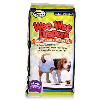 Four Paws Presents Wee-Wee Disposable Diapers-12ct Fp Dog Diaper X-Lg. Designed to for Pets with Incontinence, Excitable Urination, Untrained Puppies, and Female Dogs in Season. Four Paws Wee Diapers are Highly Absorbent and , Like Diapers for Infants, &quot;Wick Away&quot; Moisture from Skin/Fur. Comfortable &amp; Leak Proof Diapers are Available in 5 Sizes. [22786]