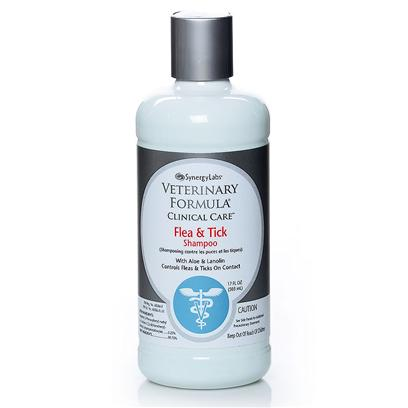 Synergy Labs Presents Synergy Labs Flea and Tick Shampoo with Aloe Vera Lanolin 17oz. Veterinary Formula Clinical Care Flea and Tick Shampoo with Aloe and Lanolin Controls Fleas and Ticks on Contact. Gently Cleanses and Exfoliates Skin and Coat. Leaves the Coat Soft and Lustrous. Use only on Dogs and Cats 12 Weeks and Older. When Shampooing Animal, Avoid Eyes. Use Cloth or Sponge to Shampoo Around Pet's Eyes. Wear Rubber Gloves (Mitts) when Applying this Product. Thoroughly Wet the Entire Hair-Coat with Warm Water and then Apply Enough Shampoo to Make a Lather and Work Thoroughly into the Hair-Coat. For Maximum Parasite Control Allow Lather to Remain in Contact with Skin for Five to Ten Minutes Before Rinsing. Do not Reapply Product for 7 Days. [22805]