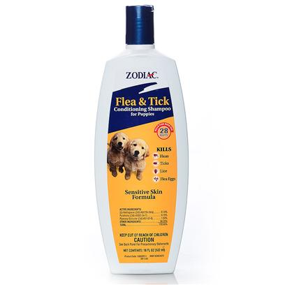 Wellmark Presents Zodiac Flea &amp; Tick Puppy Conditioning Shampoo 18oz F T Con Sham. Zodiac Oatmeal Conditioning Shampoo Enriched with Oatmeal for Puppies Contains Precor, an Insect Growth Regulator, that Provides Dogs with 28 Days of Full Protection Against Pre-Adult Fleas Before they Become Biting Adults. It is a Concentrated Lathering Shampoo Enriched with Oatmeal, Coconut Extract, Lanolin and Aloe, which Leaves your Puppy's Coat Soft, Shiny and Manageable and Smelling Good. The Shampoo also Removes Loose Dandruff, Dirt and Scales. For Use on Puppies 12 Weeks of Age and Older. [22826]