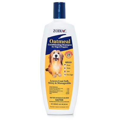 Wellmark Presents Zodiac Oatmeal Conditioning Shampoo 18oz Cond Shamp. Zodiac Oatmeal Flea & Tick Dog & Puppy Conditioning Shampoo is a Concentrated Lathering Shampoo Enriched with Oatmeal, Coconut Extract, Lanolin and Aloe that Leaves your Dog's Coat Soft, Shiny and Manageable and Smelling Good!. Precor Insect Growth Regulator Provides Dogs with 28 Days of Full Protection Against Pre-Adult Fleas Before they Become Biting Adults. In Addition, our Shampoo Removes Loose Dandruff, Dirt and Scales. For Use on Dogs and Puppies over 12 Weeks of Age. 18 Oz [22827]