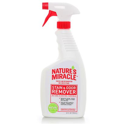 Nature's Miracle Presents Nature's Miracle-Stain and Odor Remover 24oz Spray Bottle. Nature's Miracle Power Sprayer the only Battery Operated Pet Stain &amp; Odor Remover. Provides Fast, Continuous Application. Power Penetration Breaks Down Stains &amp; Odors Faster. Super Sized 1.5 Gallon. Ready to Use - 4aa Batteries Included. Nature's Miracle Stain &amp; Odor Removers are Guaranteed to Permanently Eliminate all Stains &amp; Odors - Even Urine Odors Othr Products Fail to Remove. Removes all Organic Stains and Odors, Including Foods, Blood, Vomit, Feces, Grease, Dirt, Grass, Smoke and Perspiration. Will also Work on Old and Deep-Set Stains &amp; Odors. [22837]