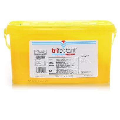 Tomlyn Presents Trifectant Disinfectant Powder 10lb Tub Tomlyn. Cleans and Disenfects in One Step with a Solution that is Effective for 7 Days Use 1 Scoop Per Gallon of Water. 10 Lb Powder Makes 123 Gallons [22840]