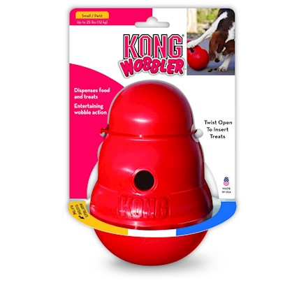 Kong Company Presents Kong Wobbler Med/Lg. The Kong Wobbler is a Traditionally Kong-Shaped Food and Treat Dispenser. Constructed of Fda Food-Approved, High-Strength, Plastic Polymer, the Wobbler is a Toy that Sits on the Line Between Fun and Mealtime. This Toy is Designed to Stand Upright when Placed on a Flat Surface, but to Move About Unpredictably as Soon as your Dog Knocks it Over. The Top of the Wobbler Unscrews, Making it Easy to Fill with Food or Treats, which are Dispensed through a Hole as your Dog Spins and Rolls the Toy Around. Keeping this Toy Clean is Very Easy, as it is Dishwasher Safe. This Toy will Keep your Dog Occupied, Stimulated, and Physically Active. [22904]