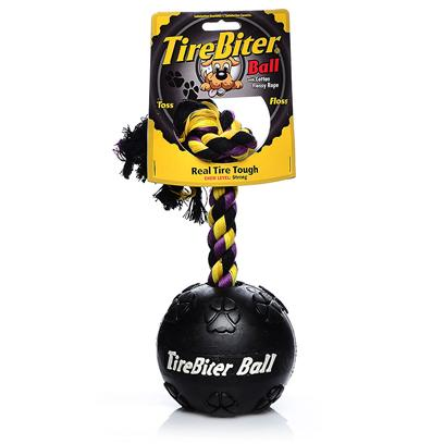 Mammoth Presents Tire Biter Paw Mammoth Rope 3.5'. Roll-Toss-Floss Tirebiters are Made Real Tire Tough for Heavy-Duty Chomping and Interactive Play. The Patented Two-Ply Nylon Formula Flosses while Dogs Chew. [22933]