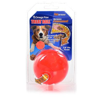 Omega Paw Presents Tricky Treat Ball Omega Large. This Challenging Ball Entertains Pets for Hours. Insert Dry Food or Treats into the Tricky Treat Ball and as a Pet Plays, Treats are Dispersed. Dimensions 2.5&quot; Diameter [22950]