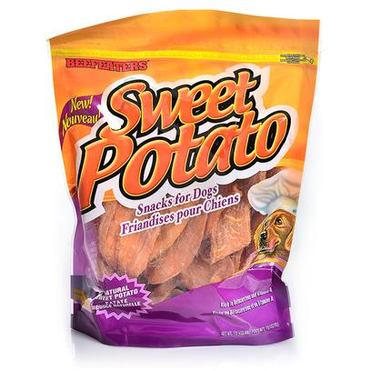 Beefeaters Presents Sweet Potato Chips Package 1lb Bag. All-Natural, 100 Percent Pure Sweet Dehydrated Sweet Potato Makes an Irresistible Treat for any Lucky Dog. Rich in Vitamins, Iron, Calcium, Fiber and Beta Carotene. Your Dog'll Love the Sweet Taste. [23008]
