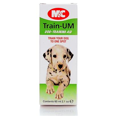 "Mark and Chappell Presents Train Um Drops 2oz Mc. No More Puddles Inside and no More Messy Lawn! Train-Um Helps to Train Puppies and Older Dogs to Use Designated ""Potty"" Spots. Pheromones Attract Dogs to Designated Areas and can be Used Inside or Out! [23030]"