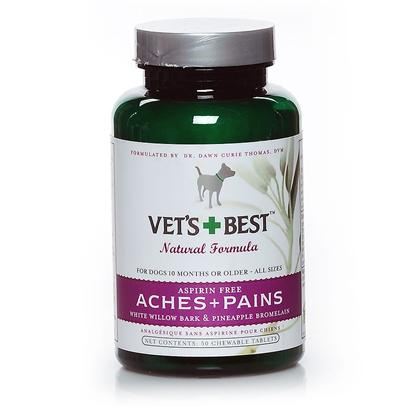 Bramton Company Presents Vets Best Aches + Pains 50tab. An Active Dog's Best Friend. Our Potent, Aspirin-Free Formula of White Willow and Pineapple Bromelain Helps Quickly Ease Temporary Discomfort Due to Regular Exercise and Normal Daily Activity. Especially Great for Very Active Dogs who are Involved in Physical Training and Competition. [23034]