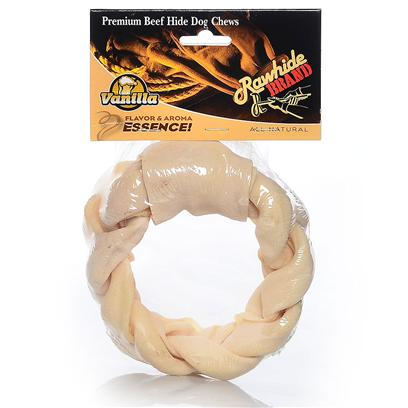 Petag Presents Vanilla Twist Rawhide Ptag 6' Braid Rg. The Aroma and the Taste of Vanilla Flavored Rawhide will have your Dog Begging for More. [23073]