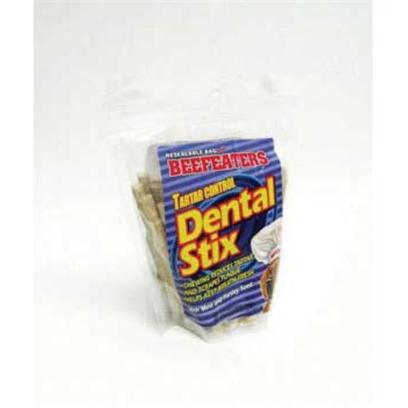 Beefeaters Presents Tartar Control Dental Stix 50pk Beef Healthy. We Love our Dogs. We Love to Cuddle them and Nuzzle Them. What we don't Love is their Breath! While Nothing can Replace a Good Tooth-Brushing Now and again, Beefeaters Dental Stix are the Perfect Treats to Complement a Dog's Regular Dental Routine. They are all Natural Rawhide Chews Made with Mint, Fluoride and Parsley Seed. The Hard Texture of the Chew is Beneficial in Reducing Plaque and Tartar Build-Up, while Fluoride is Proven to Aid in the Prevention of Cavities. Mint and Parsley Seed Minimize Odors in the Digestive System, which Helps Eliminate Bad Breath. [23108]