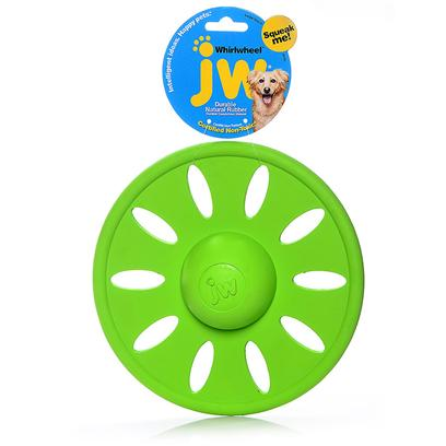 Jw Pet Company Presents Whirlwheel Rubber Dog Toy Jw Small. Jw Pets Whirlwheel Puts a New Spin on the Flying Disc. The only Squeaking, Pliable, Flyable Disc on the Market, Innovation and Creativity Mark the Launch of this Soon to be Favorite. The Whirlwheel can be Used as a Tug Toy, as a Toss Toy, as a Chew Toy, as an Interactive Whirling Wheel of Fun for Pet and Pet Parent. This Wheel of Amusement Comes in 2 Sizes and Bright, Modern Colors that will have them Flying off the Shelves. [23120]