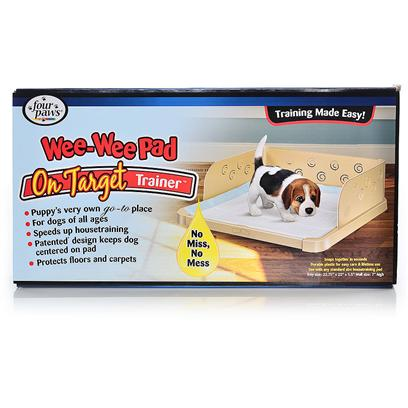 Four Paws Presents Four Paws Wee Target Trainer Wee-Wee. An Innovative Solution to House Training Issues! The Wee on Target Trainer has Fasteners where the Pad is Anchored in Place- the Pet Cannot Move It! Made of High Impact Plastic, the Three Sided, 'Corralling' Feature of the Wee on Target Trainer Prevents 'Missing the Pad'. Once the Dog is Trained to Use the Center of the Pad, the Side Walls can be Removed. The on Target Trainer Fits all Standard Puppy Wee-Wee Pads. 22 X 23 [23167]