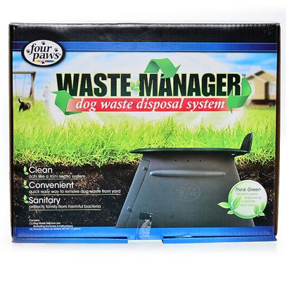 Four Paws Presents Waste Manager Disposal System Fp. Designed for Today's Health and Environmentally Conscious Consumer,the Four Paws Waste Manager Acts Like a Mini Septic System.Placed in-Ground, our Natural Enzyme Clean-Up Tablets and Patented Water Catching Lid, Speed the Breakdown of Dog Waste.The Waste Manager is Easy to Install and Provides a Convenient and Easy Way to Remove Dog Waste from Yards, Protecting Families from Harmful Bacteria. Unit Capacity Up to Two Dogs. Four Paws Waste Manager Includes a One Month Supply of Natural Clean-Up Tablets,Refills Sold Separately. [23204]