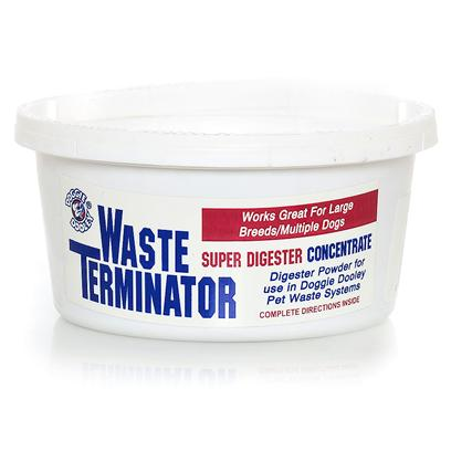 Huron/Hueter Toledo Presents Waste Terminator Gram Hueter 180gr. The only Digester for Best Results in your Doggie Dooley. Easy to Use-Environmentally Safe-100% Biodegradable. Directions Mix One Tablespoon of Enzymes with One Quart Warm Water. Stir Mixture into Contents of the Doggie Dooley System. Allow 24 Hours Before Adding any More Waste. This should Speed the Digestive Action. Continue to Follow the Directions for your Doggie Dooley System. [23206]