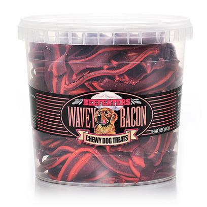 Beefeaters Presents Wavey Bacon Chewy Dog Treat 2lb Jar Beef. Chewy Treat in Resealable Jar. Looks Like Bacon Strips [23215]