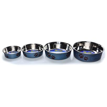 Loving Pets Presents Bella Bowl Metallic Blueberry Small-1 Pint-5.5' X 5.5' 2'. Functional and Beautiful, Bella Bowls are Truly the Perfect Pet Dish. Loving Pets Brings New Life to Veterinarian-Recommended Stainless Steel Dog Bowls and Pet Feeding Dishes by Combining a Stainless Interior with an Attractive Poly-Resin Exterior. A Removable Rubber Base Prevents Spills, Eliminates Noise, and Makes Bella Bowls Fully Dishwasher Safe. Bella Bowls are Available in an Expanding Palette of Decorative Colors and Designs. Bella Bowls Stainless Steel Pet Dishes are Sure to be a Perfect Fit for your Dog, Cat or any Other Pet. [23244]