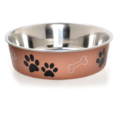 Loving Pets Presents Bella Bowl Metallic Copper Medium-1 Quart-6.8' X 6.8' 2.2'. Functional and Beautiful, Bella Bowls are Truly the Perfect Pet Dish. Loving Pets Brings New Life to Veterinarian-Recommended Stainless Steel Dog Bowls and Pet Feeding Dishes by Combining a Stainless Interior with an Attractive Poly-Resin Exterior. A Removable Rubber Base Prevents Spills, Eliminates Noise, and Makes Bella Bowls Fully Dishwasher Safe. Bella Bowls are Available in an Expanding Palette of Decorative Colors and Designs. Bella Bowls Stainless Steel Pet Dishes Come in Five Sizes, Sure to be a Perfect Fit for your Dog, Cat or any Other Pet. [23253]