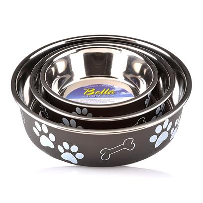 Loving Pets Presents Bella Bowl Espresso X-Large. Functional and Beautiful, the Bella Bowls Give you the Bacteria Resistant Stainless Steel Combined with the Beauty only Plastic can Bring out in a Pet Dish. This Revolutionary Dish Even has a Rubber Ring at the Base to Keep it from Slipping. The Ring is Removable so it can be Put in the Dish Washer when it Comes Time to Clean It. [23255]