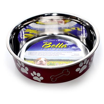 Loving Pets Presents Bella Bowl Merlot Small-1 Pint-5.5' X 5.5' 2'. Functional and Beautiful, the Bella Bowls Give you the Bacteria Resistant Stainless Steel Combined with the Beauty only Plastic can Bring out in a Pet Dish. This Revolutionary Dish Even has a Rubber Ring at the Base to Keep it from Slipping. The Ring is Removable so it can be Put in the Dish Washer when it Comes Time to Clean It. [23264]
