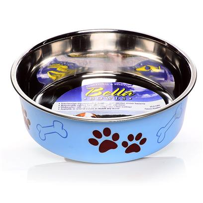 Loving Pets Presents Bella Bowl Murano Blue Small-1 Pint-5.5' X 5.5' 2'. Functional and Beautiful, the Bella Bowls Give you the Bacteria Resistant Stainless Steel Combined with the Beauty only Plastic can Bring out in a Pet Dish. This Revolutionary Dish Even has a Rubber Ring at the Base to Keep it from Slipping. The Ring is Removable so it can be Put in the Dish Washer when it Comes Time to Clean It. [23268]