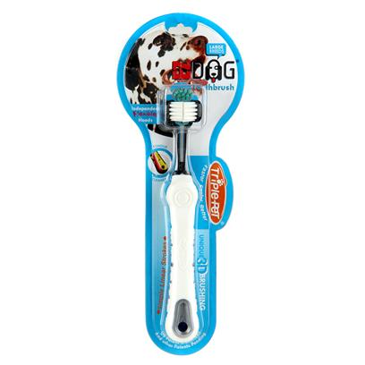 Trixie Presents Triple Pet Toothbrush Tp Large (Lg) Br. Pet Toothbrush for Small or Large Breeds. [23294]