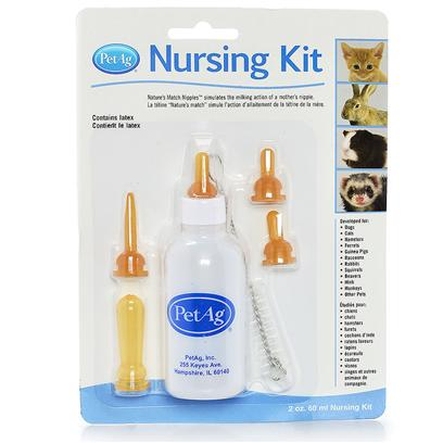 Petag Presents Nurser Bottle Kit 4oz. Nursing Bottles are Durable Plastic Bottles Made to Withstand Repeated Use and Sterilization. Nipples Come with no Holes for Custom Control Flow of Formula. Graduated Bottles Aid in Accurate Feeding. Each Kit Contains Bottle with Nipple, Two Extra Nipples and Cleaning Brush. Designed by Vets with Natural Feeding Action. 4 Oz Carded [23379]