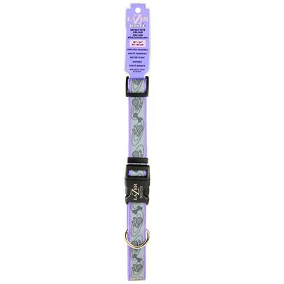 Coastal Presents Lazer Brite Adjustable Reflective Collar Small-5/8' (Turquoise/Bones). Safe, Fashionable and Affordable, Lazer Brite Collars Feature the Same Super-Bright 3m Scotchlite Retro Reflective Material Used by Construction Workers and Safety Professionals Today. Visible to Approaching Motorists Up to 600 Feet Away, this Collar Provides Ensures Maximum Visibility for all Dogs - Including Those with Dark Coats! For Daytime Use, this 1&quot; Wide Collar also Features an Adorable Paws and Bones Design on Durable Periwinkle (Dark Lavendar) Nylon. Suitable for Large Dogs, this Collar Easily Adjusts from 18&quot; Up to 26&quot; in Length Length. Not Recommended for Tie Out. Large 1&quot; X Adj. 18&quot;-26&quot; Periwinkle Paws and Bones [23432]