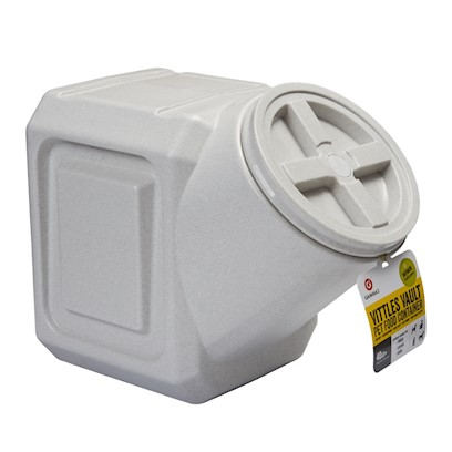 Gamma Plastics Presents Vittles Vault Pet Food Stackable Container Gamma V.Stackable 40lb. Mfg # 4340 Airtight / Watertight, Space Efficient Stackable Style Food Storage Container 12&quot; X 18&quot; X 15.5&quot; Tall with Molded Handle. Granite Stone Color Holds 40+ Lbs Dry Dog Food, 11 Gallon Liquid Capacity. [23554]