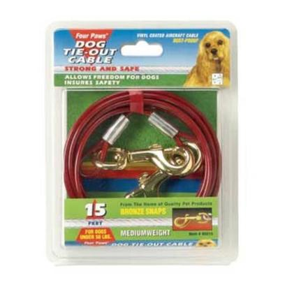 Four Paws Presents 30ft Cable Tieout 950lb-Red Fp Cab 950lb Red. Four Paws Dog Tie out Chains &amp; Cables Insure Pet Safety while Allowing Complete Freedom. These Rust-Proof Chains are Available in a Variety of Lengths and Weights. 30' Red [23560]