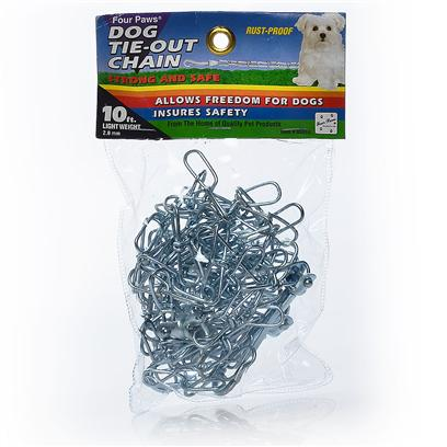 Four Paws Presents 20ft Medium 2.5mm Tieout Chain 20. Four Paws Dog Tie out Chains &amp; Cables Ensure Pet Safety while Allowing Complete Freedom. These Rust-Proof Chains are Available in a Variety of Lengths and Weights. 20' [23613]