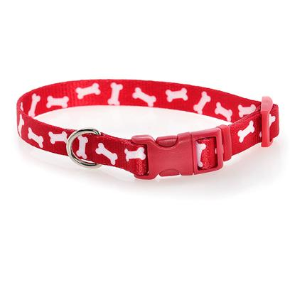 Coastal Presents Pet Attire Bone Pattern Collar-Red Small-5/8'. Dress Up your Pet in the Most Fashionable Styles with Pet Attire. Silky, Smooth and Comfortable, this Product Line Includes our Tuff Collars and Matching Leads. Vibrant, Colorfast Patterns with Outstanding Artistidetail are Printed on Both Sides. [23622]