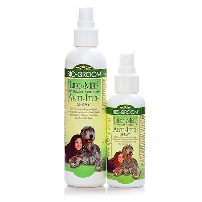 Bio Groom Presents Lido Medicated Anti Ich Spray 4oz 8oz. This Clinically Developd Topical Antiseptic Cooling Spray is Guaranteed not to Sting. It Provides Fast, Soothing Relief for Minor Skin Problems Such as Flea Bites, and Allergic Dermatitis. It will also Help Stop Wound Biting. [23652]