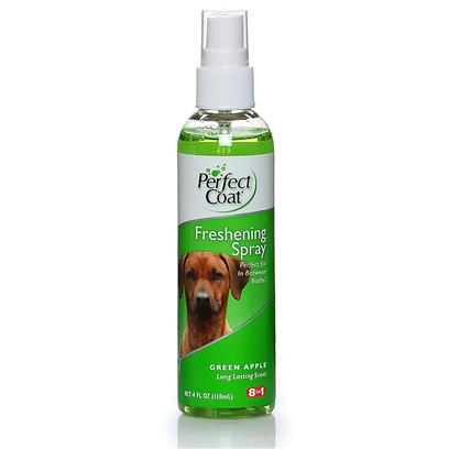 "8 in 1 Presents Pro Pet Green Apple Freshening Scent Spray 4oz 8in1 Fresh Spry. Perfect Coat Crisp Apple Freshening Spray Nourishes, Detangles and Adds Shine to the Coat. Formulated with the Help of Groomers to Ensure this Spray Contains the ""Must have"" Combination of Premium Ingredients to Meet the Demands of the Most Discriminating Pet Grooming Needs. [23655]"