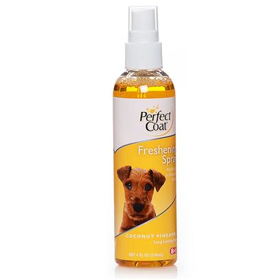 8 in 1 Presents Pro Pet Coconut/Pineapple Freshening Scent Spray 4oz 8in1 Coco/Pnpl Fresh Spry. Perfect Coat Coconut Pineapple Freshening Spray Nourishes, Detangles and Adds Shine to the Coat. Formulated with the Help of Groomers to Ensure this Spray Contains the &quot;Must have&quot; Combination of Premium Ingredients to Meet the Demands of the Most Discriminating Pet Grooming Needs. [23656]