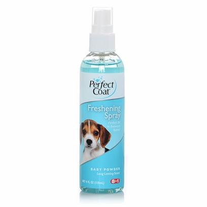 "8 in 1 Presents Pro Pet Baby Powder Freshening Scent Spray 4oz 8in1 Pwdr Fresh Spry. Perfect Coat Baby Powder Freshening Spray Nourishes, Detangles and Adds Shine to the Coat. Formulated with the Help of Groomers to Ensure this Spray Contains the ""Must have"" Combination of Premium Ingredients to Meet the Demands of the Most Discriminating Pet Grooming Needs. [23658]"
