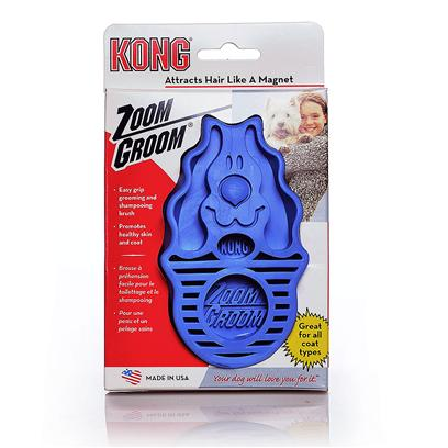 Kong Company Presents Zoom Groom Dog Brush Boysenberry. Trips to the Groomer can be Expensive and Time Consuming. The Zoom Groom Makes it Easy to Clean your Dog's Coat and Promote Healthy Skin. The One-Piece, Flexible Rubber Design Attracts Unwanted Hair, Dead Skin, and Dander while Delivering a Gentle Massage. The Zoom Groom Works Well Dry and Even Better when You're Giving your Dog a Bath. You'll Get your Dog's Hair Clean Down to the Skin and Enjoy Less Shedding and a Happier Dog. [23673]