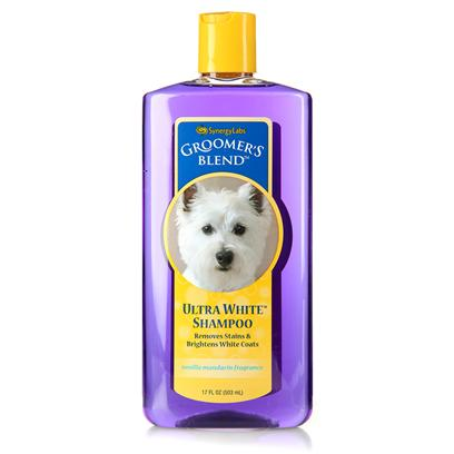 Synergy Labs Presents Groomers Blend Ultra White Shampoo 17oz. Brightens White Coats, Removes Stains and Creates &quot;Show-Ring&quot; Perfect Coats. Ultra White Shampoo for White Dogs, Cats and Horses. No Bleach, no Peroxide. This Professional Grooming Formula Removes Yellow from White Coats Brightens White Coats Removes Stains with Repeated Use Keeps Pets Show-Ring White and Bright. [23687]