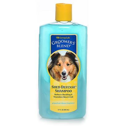 Synergy Labs Presents Groomers Blend Shed Defense Shampoo 17oz. Reduces Shedding &amp; Nourishes Skin &amp; Coat. This Antioxidant Formula has an Appealing Grapefruit Thyme Fragrance. Rich in Essential Fatty Acids, Moisturizers and Antioxidants, Shed Relief Shampoo has been Formulated to Reduce Excessive Shedding, Dander &amp; Allergens. With Ingredients Including Kukui Nut Oil, Wheat Germ Oil, Vitamins a, D &amp; E, Alpha Hydroxy Acid, and Nettle Extract, Skin and Coat are Infused with Omega Fatty Acids, Emollients and Antioxidants. Protects Skin and Leaves Coat Soft and Smooth. Safe for Dogs and Cats over 12 Weeks. 17 Oz [23688]