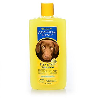 Synergy Labs Presents GroomerS Blend Flea and Tick Shampoo 17oz. Groomer's Blend Flea and Tick Shampoo Kills on Contact and Leaves your Pet Smelling Fresh and Clean. It Gently Cleanses and Exfoliates Skin and Coat. It Leaves the Coat Soft and Lustrous. Gently Cleanses and Exfoliates Skin and Coat. When Shampooing Animal, Avoid Eyes. Use Cloth or Sponge to Shampoo Around Animal's Eyes. Wear Rubber Gloves (Mitts) when Applying this Product. Thoroughly Wet the Entire Hair-Coat with Warm Water and then Apply Enough Shampoo to Make a Lather and Work Thoroughly into the Haircoat. For Maximum Parasite Control Allow Lather to Remain in Contact with Skin for Five to Ten Minutes Before Rinsing. Do not Reapply Product for 7 Days. Do not Use on Nursing Puppies or Kittens under 12 Weeks of Age. [23694]