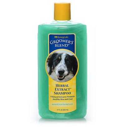 Synergy Labs Presents Groomers Blend Herbal Extract Shampoo 17oz. Reduces Bacteria and Fungus that Cause Odor, Itching, Dermatitis and Eczema. Herbal Extract Shampoo Sooths Skin and Conditions with Natural Extracts. Reduces Bacteria and Fungus that Cause Odor, Itching, Dermatitis and Eczema. Conditions Naturally. Specially Formulated from the Finest Natural Ingredients Including Cedarwood Oil Eucalyptus Oil Chamomile Extract Aloe Vera Gel Echinacea Yarrow Clove Oil [23697]