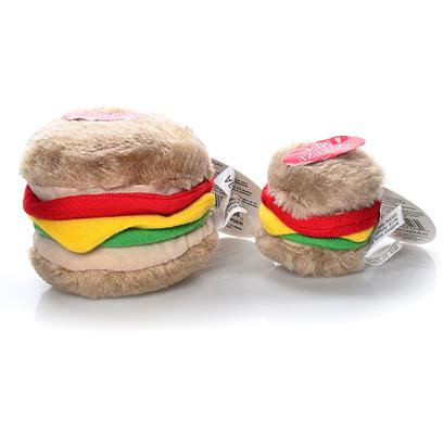 Petmate Presents Hamburger Soft Bite Dog Toy Small. These Pint-Sized Plush Toys are Perfect for your Small Dog or Puppy. Covered in a Soft Fabric, they Come in Fun Shapes that your Dog will Love! Small [23711]