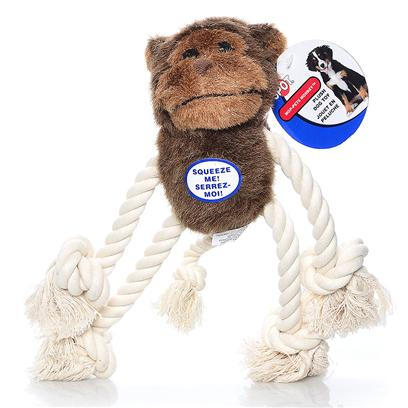 Ethical Presents Plush/Rope Mop*Pets-Monkey Spot Mop Pets Plush Monkey. Moppets Plush & Rope Monkey Perfect Chew Pal, Satisfy a Dogs Natural Urge to Chew. All Rope has Knotted Ends. Squeaky Plush Bodies, Tough Rope Limbs. [23783]