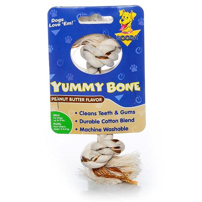 Petmate Presents Booda Yummy 2 Knot Rope Bone Peanut Butter Extra Small Medium. Excite your Dog's Taste Buds with the Intense Flavors of Booda Yummy Bones. These Tasty One-of-a-Kind Rope Bones Contain Flavored, all-Natural Cotton Fibers that will have your Dog Tugging, Pulling and Chewing for Hours. Plus their Tight, Long-Lasting Knots Clean Teeth, Massage Gums and Won't Fall Apart. Yummy Bones are Available in Steak and Peanut Butter Flavors and Come in Extra Small, Medium, Large and Extra Large Sizes. Case Pk 36 [23838]