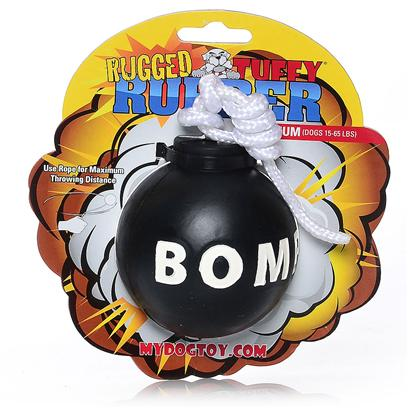 Tuffy's Presents Tuffy's Rugged Rubber-Bomb Chew Toy Tuffys Bomb. The Rope Allows you to Achieve Maximum Throwing Distance. Consists of High Quality Pure Rubber. This is a Toy you and your Dog will Love!! This Toy does not Squeak! [23850]